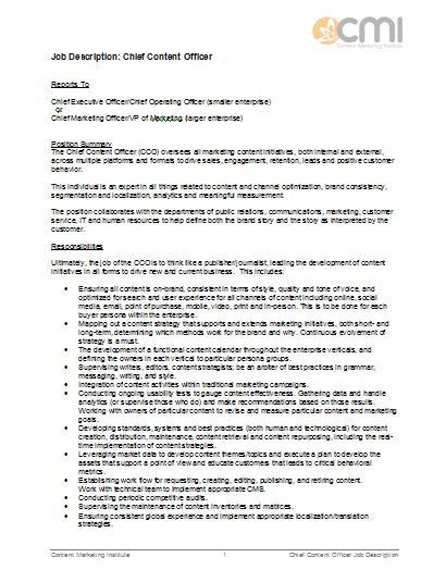 Job description format for chief content officer for Training officer job description template