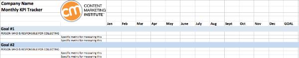 Exemple de feuille de calcul pour collecter les données d'une politique de marketing de contenu