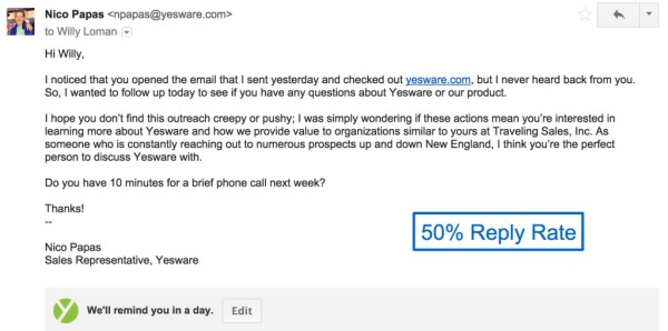 Yesware follow-up email