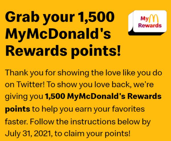 mcdonalds reward screen Twin Front