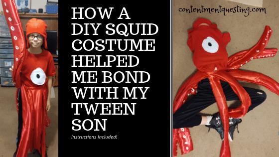 squid costume, diy costume, unique costume, unique halloween costume, bond tween son, quality time, how to, squid costume tutorial