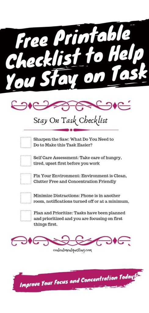 stay on task and focused checklist pin
