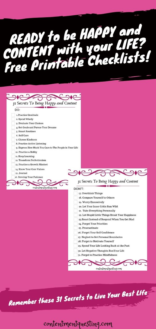 Free Printable Secrets to being happy and Content Checklist