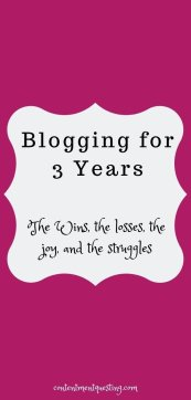 3 years of blogging at contentment questing pin image sign