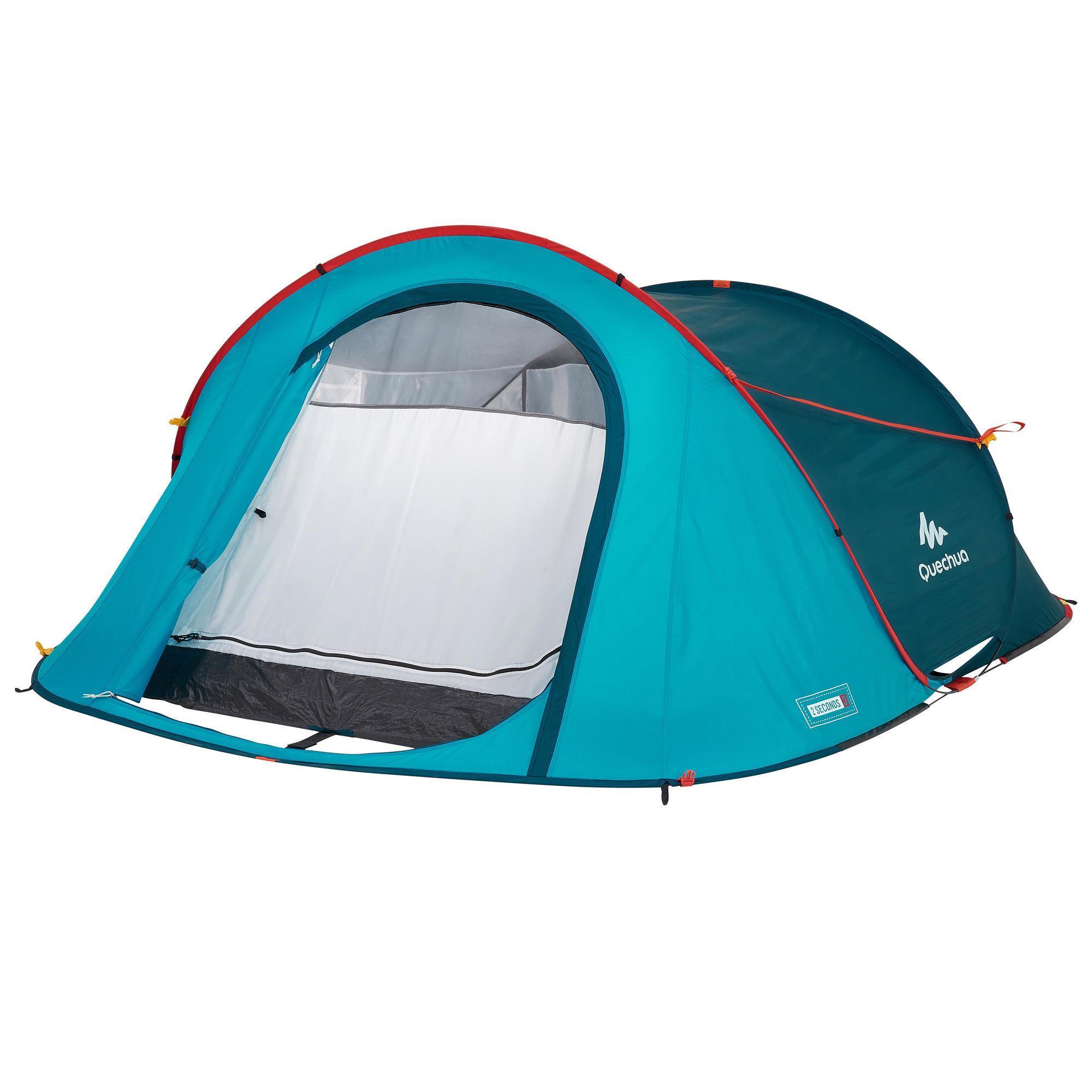 tente de camping 2 seconds bleue 3 personnes