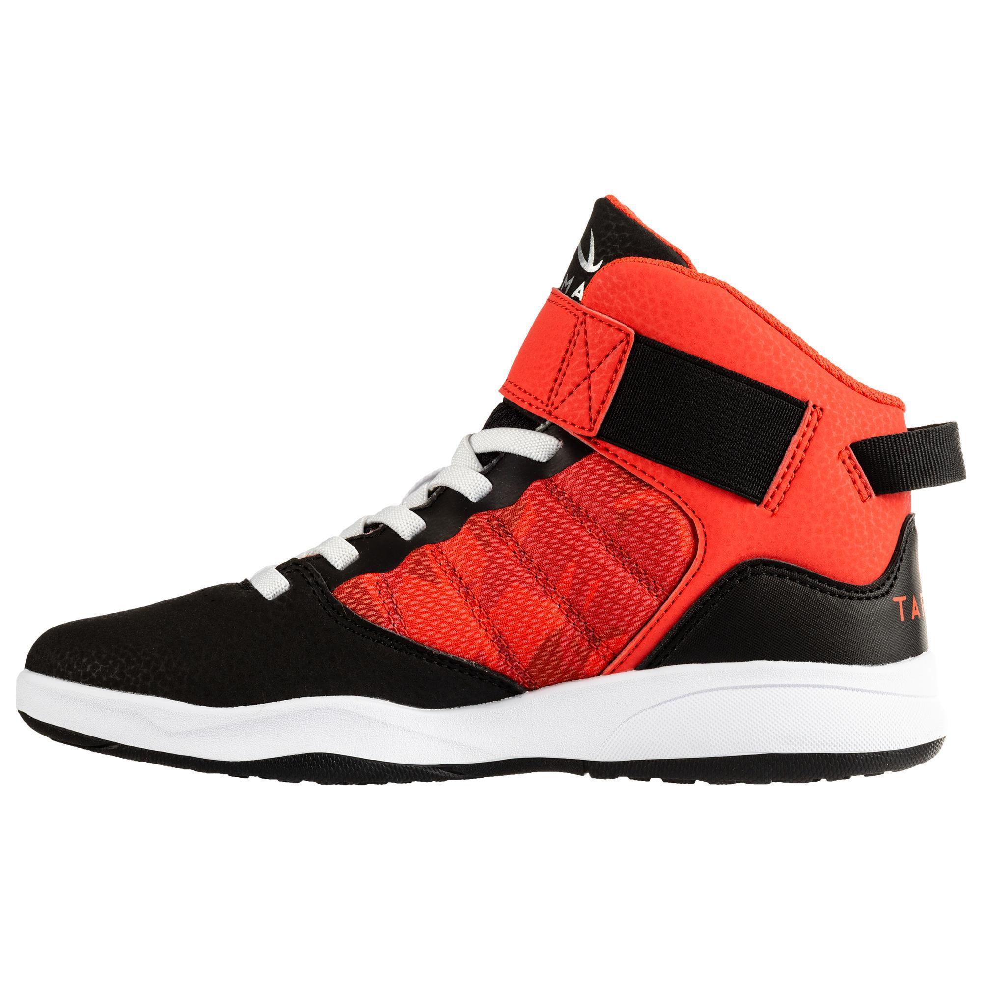兒童款簡易初階籃球鞋SE100-黑色/紅色 - DECATHLON