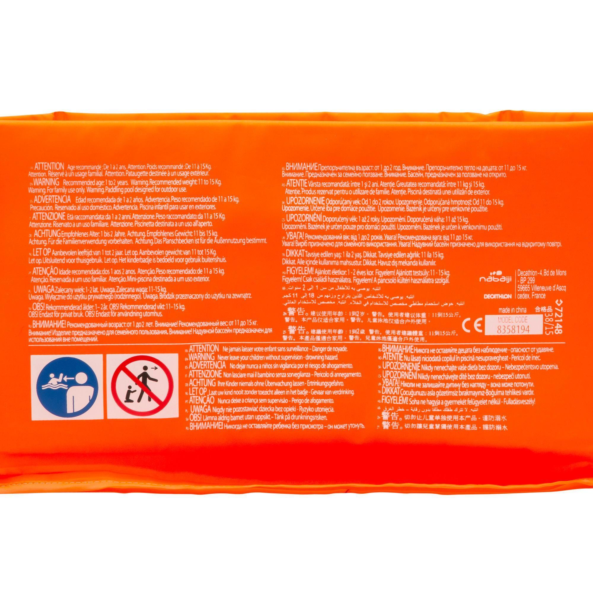 piscinette enfant tidipool basic orange en mousse de 65 cm de diametre