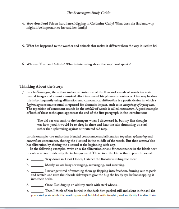 scavenger interactive study guide