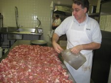 Tony making our homemade sausage!