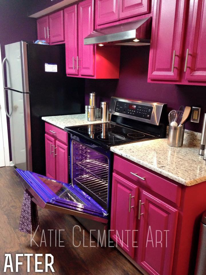 kitchen makeover contest curtain panels hot pink kitchen, yes you read that right! | general ...