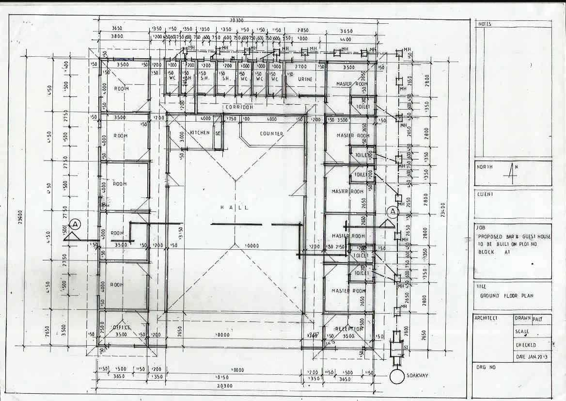 House Plan for Bar and Guest House :: Create the Future