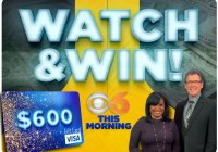 CBS 6 News Watch And Win Giveaway - Chance To Win $600 Visa Gift Card