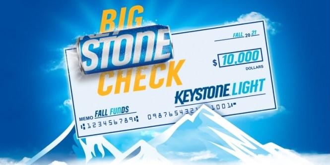 Keystone Light Big Stone Check Sweepstakes