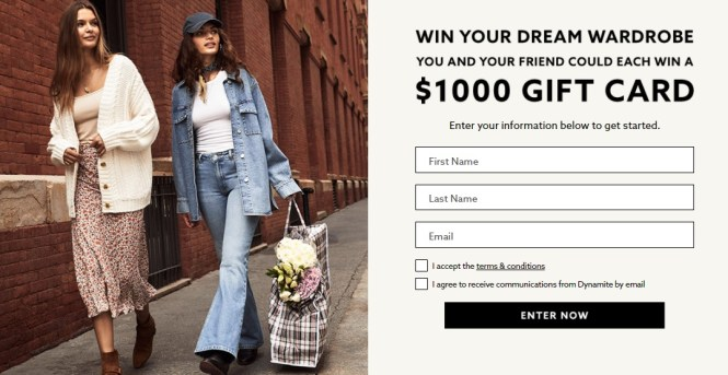 Groupe Dynamite $1000 Free Gift Card Giveaway