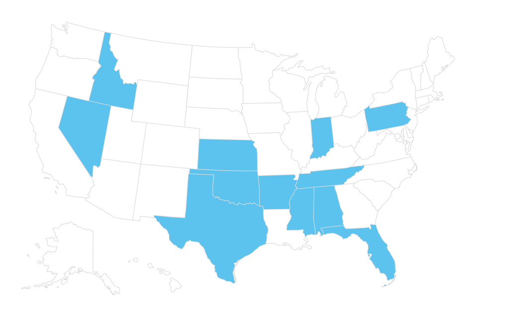 A map of the US showing state parties we have worked with.