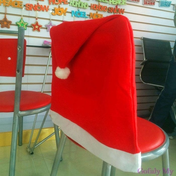 christmas folding chair covers cushions at home wish 1pcs santa red hat decorations dinner xmas cap sets new fxh