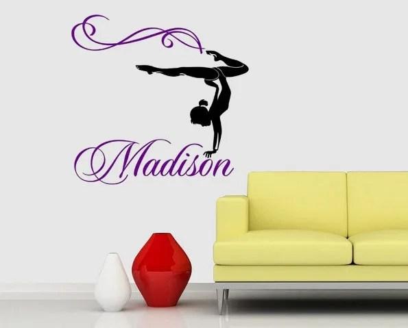 wish custom name gymnastics wall stickers home decor sports decor