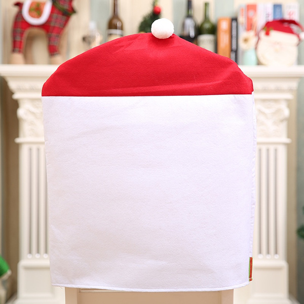 grey christmas chair covers round corner lounge wish 1pc excellent santa red hat decorations dinner xmas cap