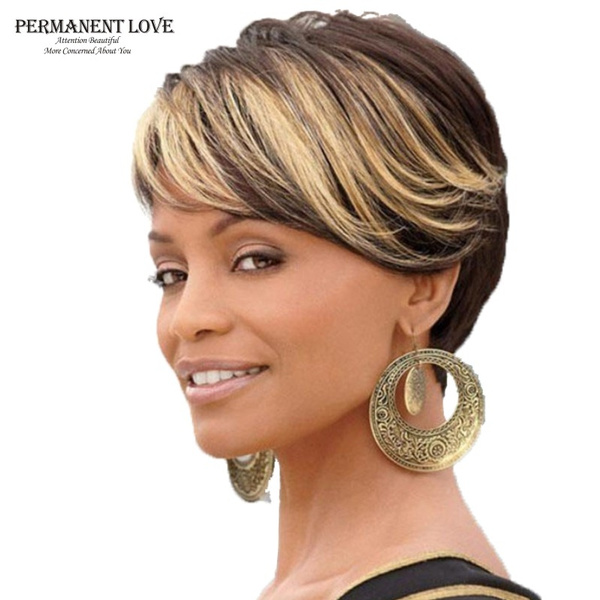 Synthetic Ombre Short Wigs For Women Black Rooted Side Bangs