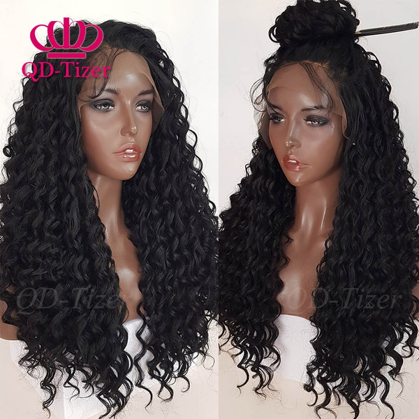 Beauty Natural Black Color Loose Curly Lace Front Wig Long Curly