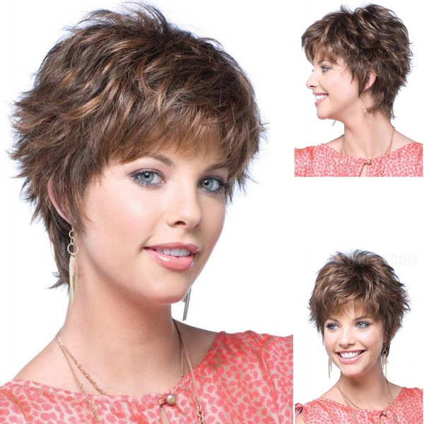 Fluffy Hair Wigs For Women Short Brown Hair Wigs With Bangs Cool