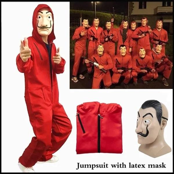 2019 La Casa De Papel 3 Salvador Dali Red Costume Jumpsuits Cosplay Dali Suit Money Heist Hot Movie