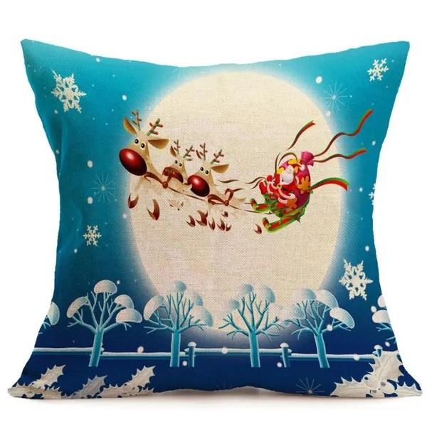 wish vintage noel dessin anime bonhomme de neige canape lit maison decoration festival taie d oreiller housse de coussin pere noel