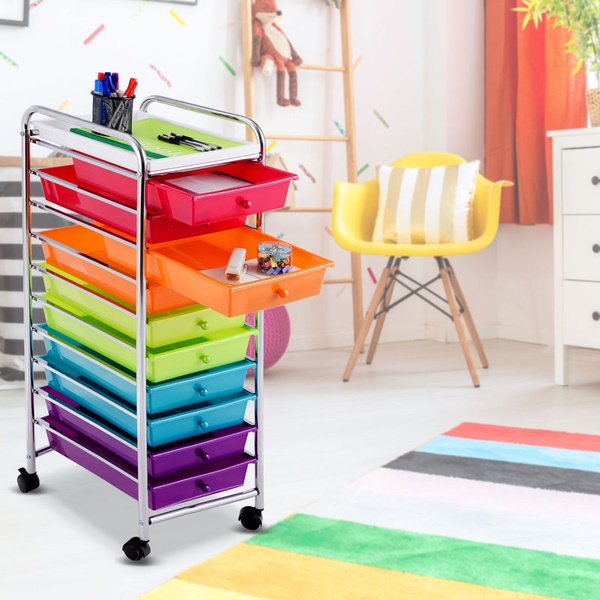 10 Drawer Rolling Organizer Cart Craft Utility Mobile Trolley Chrome Scrapbook Wish