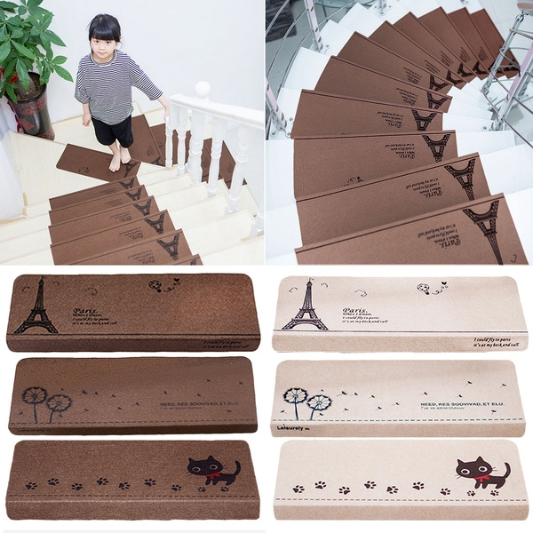 13Pcs Anti Slip Self Adhesive Coffee Beige Indoor Safety Stair | No Slip Strips For Carpeted Stairs | Stair Nosing | Traction | Non Slip Nosing | Slippery Stairs | Tread Nosing