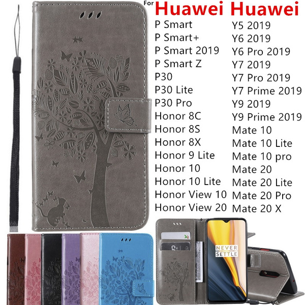 Luxury Retro Flip Magnetic Cover Embossed Cat Tree Pattern Leather Wallet Card Slots Stand Case For Huawei P Smart P Smart Zp Smart 2019p10 P20 P30
