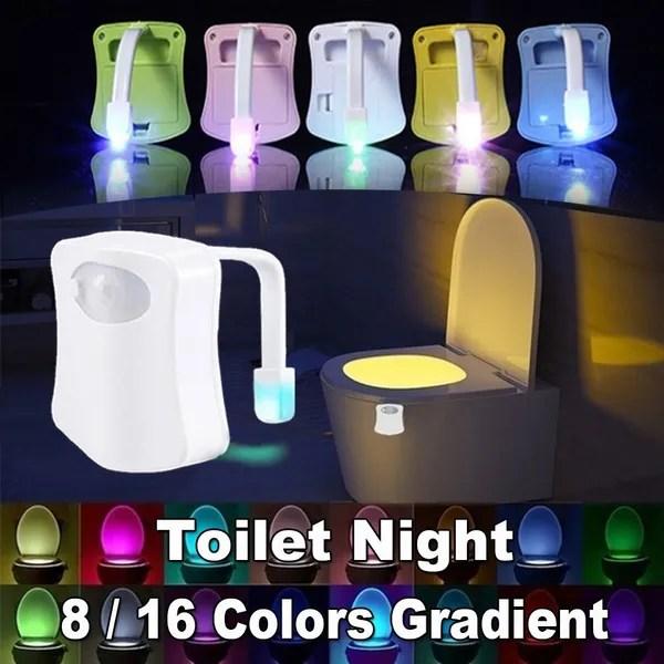 Colors Gradient Toilet Night Light Bathroom Supplies Toilet Sensor Lights Intelligent Induction Bathroom Nightlight Led Body Motion Activated On Off Seat Sensor Night Light Wish