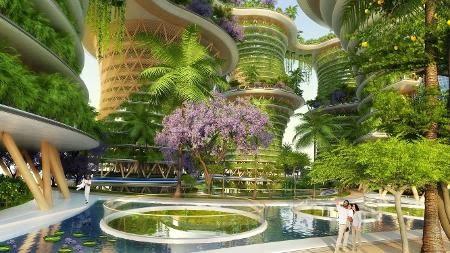 O arquiteto futurista Vincent Callebaut tinha razão ao desenhar o Hyperions, que mistura engenharia, natureza e comunicação - Reprodução