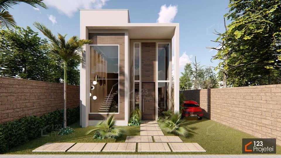 Read more about the article Pé direito duplo e escada plissada transformam o visual de projetos para terrenos compactos