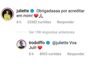 Juliette and Rodolffo exchange compliments on social media - Reproduction/Instagram - Reproduction/Instagram