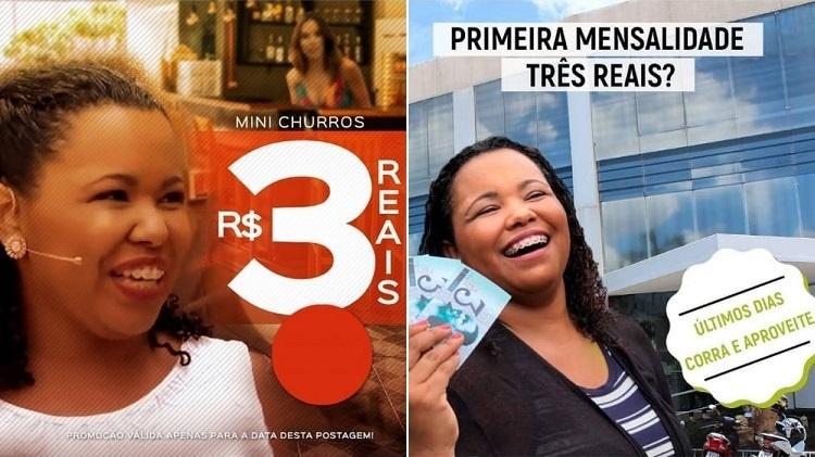De churros a academia, Raquel Motta do Amaral teve sua imagem associada a dezenas de produtos - Montagem/Reprodução/Instagram