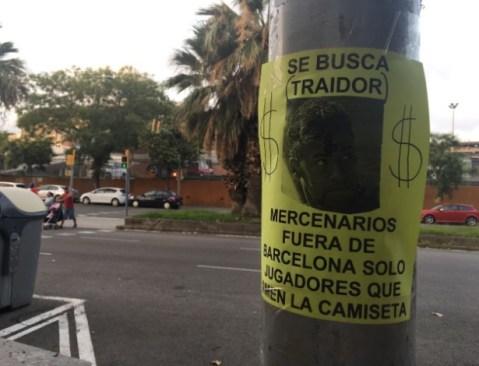 Cartaz expõe raiva da torcida do Barça com Neymar