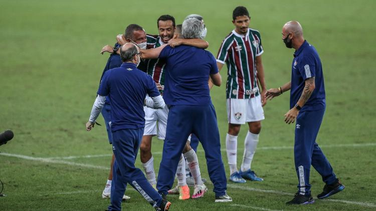 Nenê with Odair Hellmann: 2020 was the best year for the midfielder, who had a great relationship with coach and became the leader of the squad - Lucas Merçon/Fluminense FC - Lucas Merçon/Fluminense FC