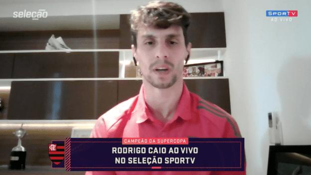 """Rodrigo Caio, do Flamengo, em entrevista ao """"Seleção SporTV"""" - Reprodução SporTV"""