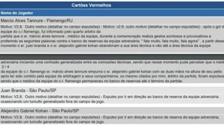 Súmula do jogo entre Flamengo e São Paulo, pela 13ª rodada do Campeonato Brasileiro de 2021 - Reprodução - Reprodução