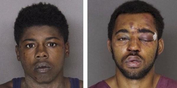 Os ladrões Joseph McInnis (esq.) e Tyree McCoy foram presos acusados de roubar o bar