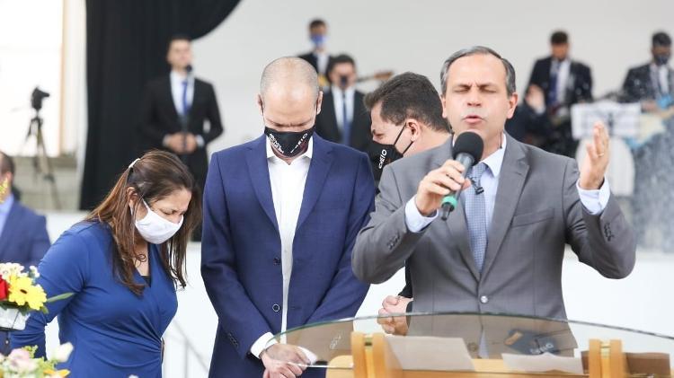 O candidato à reeleição, Bruno Covas, durante culto da Igreja Assembleia de Deus Belém - Divulgação - Divulgação