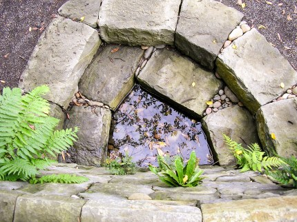 Eric Contey Stonework – Gazing pool at the Rhododendron Gardens, Portland, OR