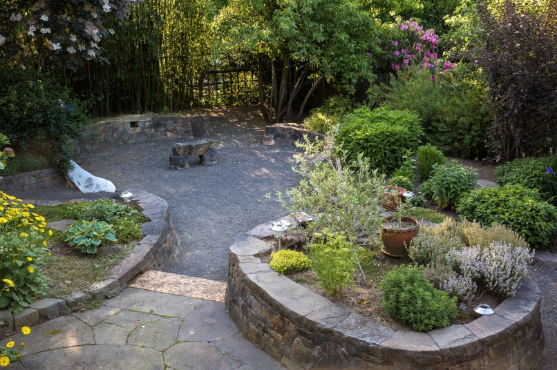 Eric Contey Stonework: DeGarmo patio with bench, walls, and stairs