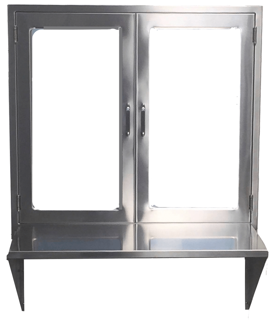 hight resolution of  hospital pass through window assembly with hinged glass doors and stainless steel shelf or set down pane double