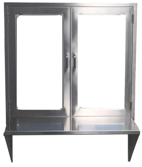 small resolution of  hospital pass through window assembly with hinged glass doors and stainless steel shelf or set down pane double