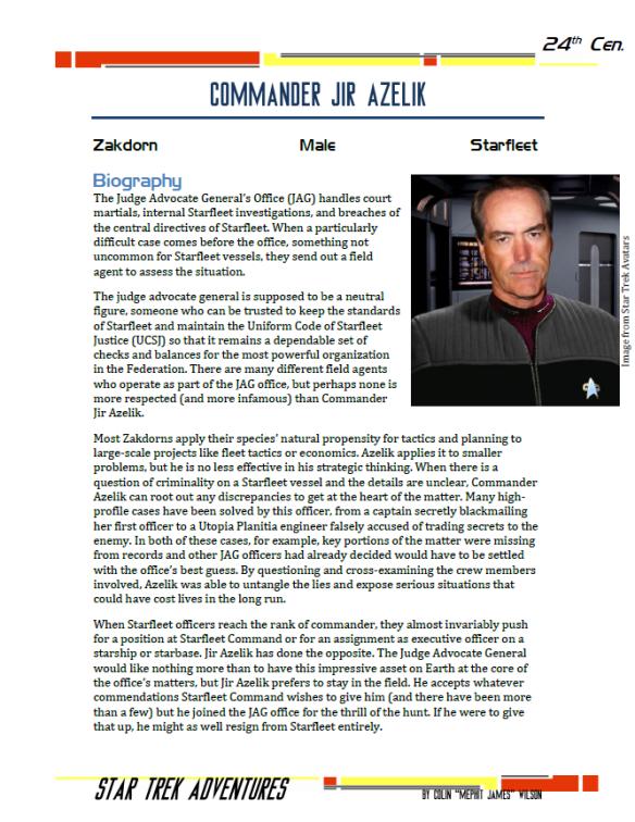 Jir Azelik - Zakdorn JAG Officer - Preview