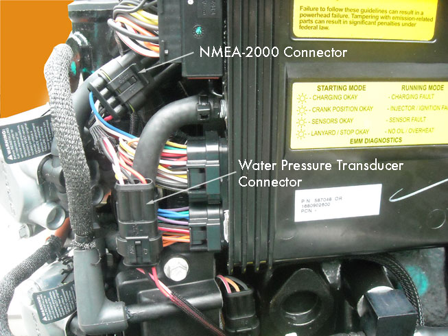 evinrude etec 225 wiring diagram blank muscle to label continuouswave whaler reference e tec rigging photo location of nmea 2000 connector and water pressure sender on 3