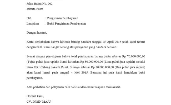 Contoh Surat Pengakuan Penerimaan Pembayaran Barang Kumpulan Surat Penting Cute766
