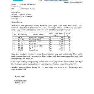 Surat Pemesanan Barang Block Style Suratmenyurat Net
