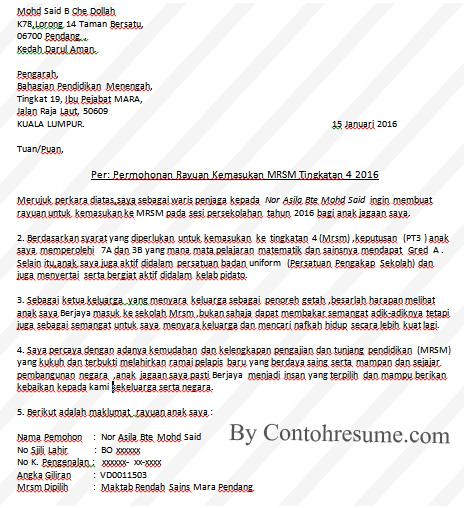 Contoh Surat Rasmi Rayuan | Contoh Resume